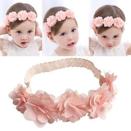 flores de pelo blanco Rebajas Nuevo llega Baby Girl Headband Lovely Toddler Lace Flower Crown Hair Band Niños Headwear Pink White Hair Accessories