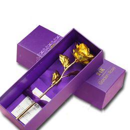 2019 exposições de frutas falsas Flor de rosa de ouro 24k com flores artificiais de caixa de presente Favores de casamento de dia dos namorados de Natal e presentes para convidados