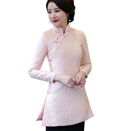 Wholesale Chinese Cotton Padded - Pink Chinese Vintage Women Lace Outwear Slim Cotton-Padded Jacket Coat Embroidery Flower&Animal Thick Long Blouse S-XXL
