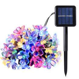 Luces solares de cadena para árboles online-Luces de la secuencia de hadas de la energía solar 7M 50 LED Peach Blossom Jardín decorativo Jardín de césped Árboles de Navidad Boda