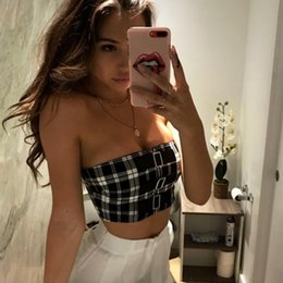850f69520648 brandy melville shorts Promo Codes - 2018 New Arrived Classic Tank Tops  Short Plaid Sexy Sleeveless