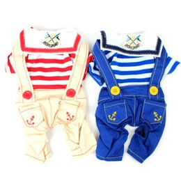 Wholesale cotton dog diapers - Striped Navy Style Pet Clothes Cat Dog Costume Four Leg Jumpsuit Clothing for Small dogs Rompers Puppy Jean Jumpsuit summer