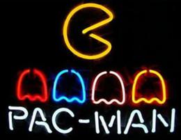 Enseignes au néon rouge en Ligne-24 * 20 pouces cadeau Red Stripe Pac-Man Gameroom Magasin de bricolage en verre Enseignes lumineuses Flex Rope Neon Light Intérieur / Extérieur Décoration RGB Tension 110V-240V