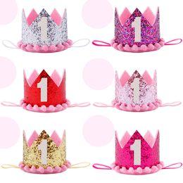 Boy Blue Silver primo compleanno cappello ragazza oro rosa principessa corona numero 1 anno partito cappello Glitter compleanno fascia da