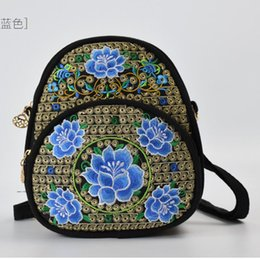 9953b046e7fc wholesale Travel Bag for Teenage Girl Small Backpack Flower Embroidered Womens  Mini Backpack Bag Shoulder Backpack Purse Woman