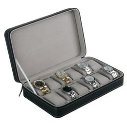 organizzatore del braccialetto di visualizzazione Sconti 12 organizzatore di cuoio dell'unità di elaborazione di immagazzinamento della scatola di orologio delle scanalature con il cofanetto multifunzionale dell'esposizione del braccialetto di stile semplice della chiusura lampo