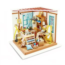 Wholesale Mini Doll Houses - Wholesale-Handmade 3D Wooden Dollhouse Realistic DIY Mini Doll Houses Realistic Miniature Dollhouse Furniture Toys for Children Xmas Gifts