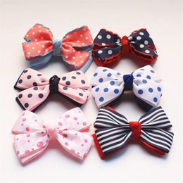 multi layer ribbon hair bows Coupons - Christmas Gift Bows Hair Clips Girls Round Dot Ribbon Bowknot Red And Blue Lace Double Layer Kids Hairpins 20pcs  Lot Kids Ribbon