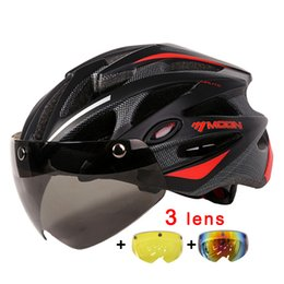 Wholesale moon cycling helmet - MOON Magnetic Goggles 275g MTB Road Mountain Cycling Helmet Bicycle Helmet In-mold Lens Bike 55-61CM  Ciclismo