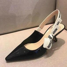Wholesale Wedding Lace Up Sandals - Plus Size 34-40 Fashion Women Sandals Pointed Toe Genuine Leather High Heels Women Pumps Wedding Shoes Woman Elastic band Bowtie
