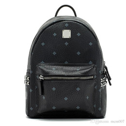 Wholesale Leather Black Backpack - 2018 Top quality New Brand Designer Stark Backpack Studded Visetos punk women men backpack school bag Duffel Bags