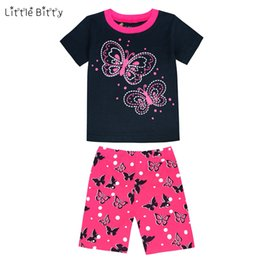 Wholesale Boy Pyjamas Cartoon - Little Bitty Summer 2017 Children Pajamas Sets butterfly Baby Girls Short Sleeved Cartoon Sleepwear Kids Pyjama Enfant for Boys