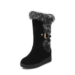 Wholesale women boots rabbit fur - Autumn Winter warm Snow Boots Shoes Rabbit Fur Women Height Increasing Fashion Women's Boots Brand Woman Ankle Botas Size 34-43