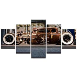 2019 abstrakte gemälde wellen Hot Rod Cars, 5 Stück Leinwand Wandkunst Ölgemälde Home Decor (ungerahmt / gerahmt)