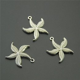 Wholesale Jewelry Making Starfish Charms - whole sale10pcs Antique Silver Starfish Charms Vintage Sea Star Charms Fit Bracelets Necklace DIY Metal Jewelry Making A2243