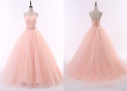 Wholesale Nude Corsets - Elegant Peach Ball Gown Evening Dress Long Sweetheart Pleated Organza Beaded Crystal Ribbon Corset Back Cheap Prom Formal Dresses Gowns
