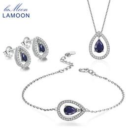 Colar de pulseira de safira azul on-line-LAMOON Gota De Água Brinco Colar Pulseira Set Jóias para As Mulheres 100% Safira Azul 925 Prata Esterlina Jóias Finas V040-4