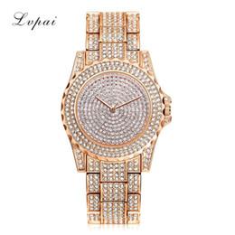 2019 relógios femininos luxuosos LVPAI Mulheres Pulseira de Luxo Relógio Completo Strass Rodada Dial Clássico de Quartzo Analógico Relógio de Pulso Senhoras Liga de Quartzo Relógio desconto relógios femininos luxuosos