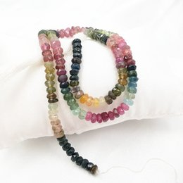 Wholesale tourmaline beads necklace - Lii Ji Bright Quality Multiple Color Faceted Flat Round Tourmaline Beads DIY Jewelry Making Necklace Bracelet Approx 35cm