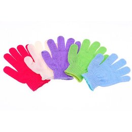Wholesale Massage 18 - Practical 18*12cm Nylon Bath Shower Gloves 5 Colors Exfoliating Sponge Bath Skin Body Wash Massage Scrub Bathroom Accessories