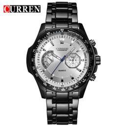 Модные черные люди онлайн-Curren 8020 кварц черный полная сталь мода деловой человек мужские часы Часы мужской водонепроницаемый челнока Relogio Masculino