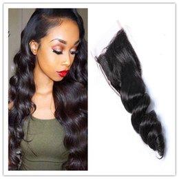 Wholesale Free Hair Supplies - Peruvian Virgin Human Hair 4X4 Lace Closure factory direct supply Malaysian Indian Loose Wave Medium Brown Swiss Lace Closures