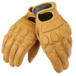 Коричневые кожаные перчатки мотоцикла онлайн-Новое поступление винтаж Кожаные городские перчатки Ретро мотоцикл для мотоциклетных перчаток Коричневый сенсорный экран для бездорожья