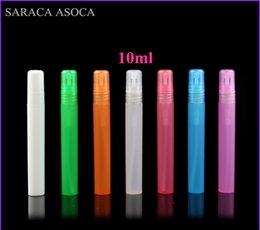 Wholesale Printed Spray Bottles - Wholesale 10ml Empty Translucence Plastic Spray Bottle Makeup Perfume Atomizer Refillable Bottles Print logo 100pcs lot