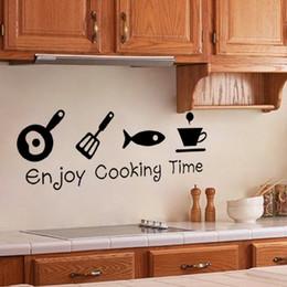 Projetos de papel de parede da cozinha on-line-Novo design criativo diy adesivos de parede cozinha decalque home decor restaurante decoração 3d papel de parede arte da parede