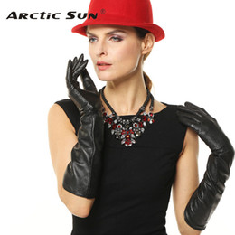 7572cebfecf5 Fashion Black 45cm Long Genuine Leather Solid Gloves Women Breathable Winter  Elbow Sheepskin Glove For Driving Hot Sale L081NN discount women s long  gloves ...