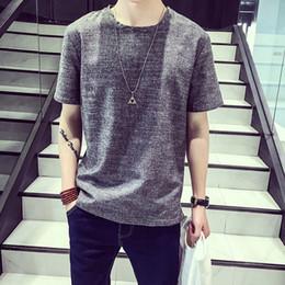 Wholesale korean jacket for men - A youth t-shirt for male short sleeved big code trend Korean dress jacket summer Linen Shirt undershirt