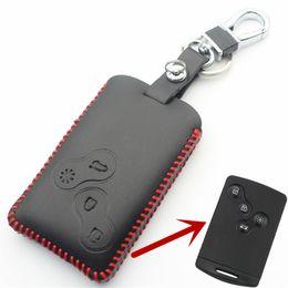 2019 tampa da chave renault Couro genuíno 4 botão inteligente case capa case para renault clio / cênica / megane / duster / sandero car styling l2002 tampa da chave renault barato