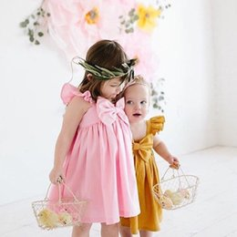 Wholesale Fly Briefs - 2 Colors Summer Newborn Kids Baby Girl Fly Sleeve Bowknot Dress Kids Soft Cotton Dress