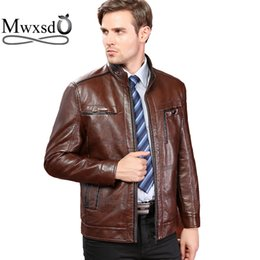 Wholesale Leather Jackets Branded - Wholesale- Mwxsd brand autumn winter men Leather Jacket Male Motorcycle Jacket Men's warm PU leather jacket aqueta de couro masculino