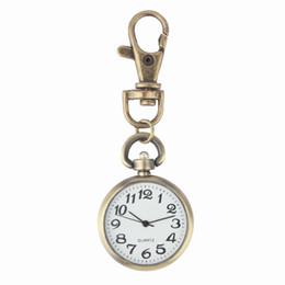 Quarz keychain online-1 stück bronze quarz vintage taschenuhr bewegung schlüsselanhänger schlüsselring uhr tasche runden zifferblatt