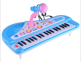 Wholesale Mini Keys Keyboard - 37 Keys Electone Mini Electronic Keyboard Musical Toy with Microphone Educational Electronic Piano Toy for Children Kids Babies