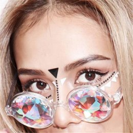 Wholesale Rave Sunglasses - Round Glasses Kaleidoscope Mens Eyewears Crystal Lens Party Rave EDM Sunglasses FG019TP