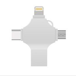 4 en 1 Flash USB para teléfono móvil Unidades 16GB-32GB-64GB-128GB Memory Stick Pendrive U-disk Almacenamiento Cross sticks para OTG Smartphone Iphone PC desde fabricantes