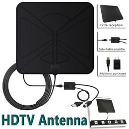 Antena tv hdtv on-line-HDTV Antena Interior Digital 50 Milhas Alcance Indoor Flat TV Antena com USB Powered Signal Amplificador 1080 P Alta Recepção Navio Livre MOQ: 1 pcs