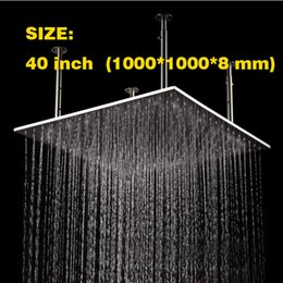 Wholesale Large Ceiling Shower Heads - 40 inch large size 304# stainless steel material surface brushed ceiling mounted big rain shower head 1000*1000*8 mm