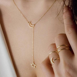 Wholesale moon star pendant necklace - Newest Hot Trendy Double Necklaces Star And Moon Pendant Chokers Necklaces Short Clavicle Chain For Women Jewelry Gift