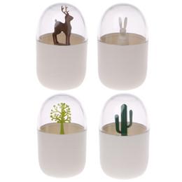 Wholesale Cactus Trees - Q-tip Holder Cute Plastic Toothpick Box Cactus Tree Rabbit Deer Organizer