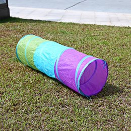 Wholesale Red Tube Game - 1.5M Colorful Folding Kids Tunnel Tube Play Tent Toy Tents Indoor Outdoor Playhouse Children House Toys Games Ball Pit Pool Tent