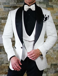 2021 цветочный стиль блейзера  2018  Style Suits Men Black White Floral Pattern Men Suit Slim Fit Groom Tuxedo 3 Piece Custom Prom Blazer 467
