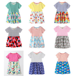 Wholesale Green Monkey Wholesale - Baby Girls Beach Dresses 31 Designs 100% Cotton Colorful Striped Flora Bunny Monkey Parrot Dinosaur Peacock Butterfly Printed Appliqued
