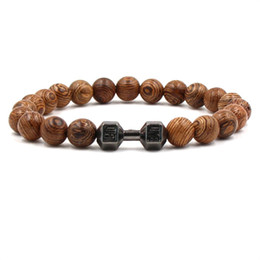 Wholesale wholesale door beads - Promotion lava Stone Bracelets Men Gifts New Products Alloy Barbell black beads wood door frame Beads Fitness Fashion Dumbbell Bracelets