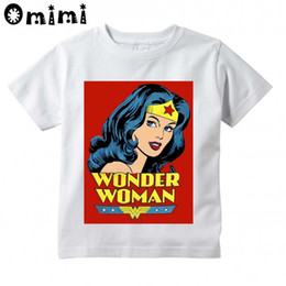 Wholesale Blue Wonder Blueing - Children WONDER WOMEN Design T-shirts Boys Girls Summer White T shirts Kid Clothing Toddler Short Sleeve Tops