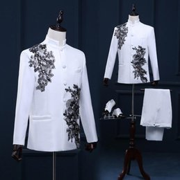 Wholesale Chinese Dance Clothes - Stand collar men blazer designs chinese tunic suit stage costumes for singers men blazer dance clothes jacket style dress white