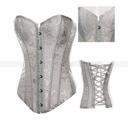 Wholesale lace basque lingerie - White Brocade Corset Body Shaper Lace up Basque Sexy Lingerie S M L XL 2XL