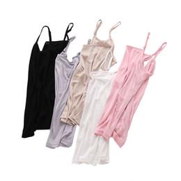 Seide unterhemden online-Jersey Damen Seide Camis Naturseide Basic Camisoles Komfortable Seiden Tanktops Sommer Neckholder Top Schwarz Weiß Nude Pink